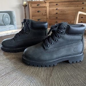 TIMBERLAND Black Leather Little Kids 6 Inch Premium Boot